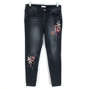 Kensie embroidered flowers jeans skinny ankle